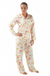 Ladies Satin long Sleeve Dragonfly Floral Pyjamas Sizes 14 16